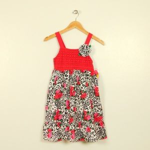 Youngland Girl 8 Crochet Floral Animal Print Dress